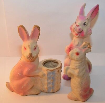 2 Vintage 1950s Paper Mache Bunny Rabbit Candy Holder & 1 Rubber Squeeze Rabbit