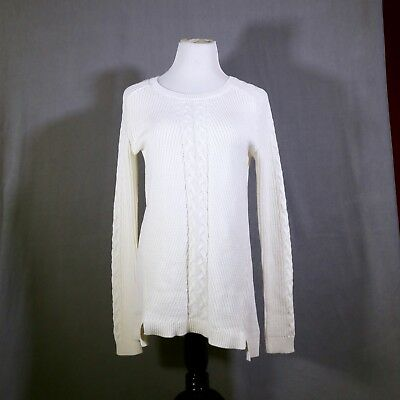 Nautica Women's Tunic Cable Sweater MarshMallow White Size Large