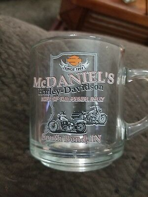 McDaniels Harley Davidson Glass Coffee Cup South Bend Indiana