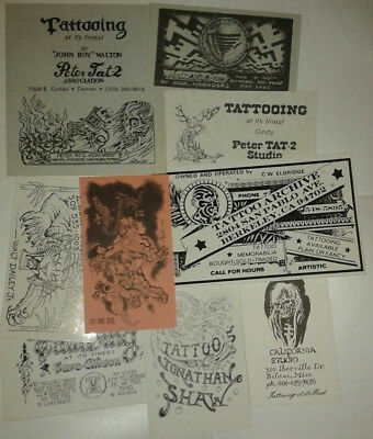 Vintage Tattoo Business Cards 1980s Shaw Barba Warsocki Daley Moses