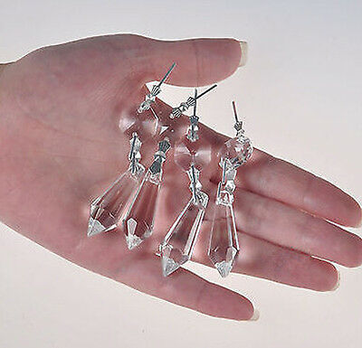 30 Clear Chandelier Glass Crystals Lamp Prisms Parts Hanging Drops Pendants 38mm