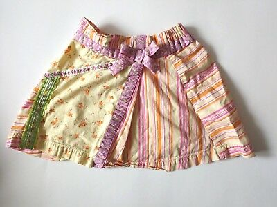 Hanna Andersson Girls Yellow Multi Color & Print Floral Stripe Skirt Sz 100 4