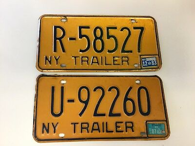Great Set of NEW YORK TRAILER LICENSE PLATES. 1983/1987 Stickers.