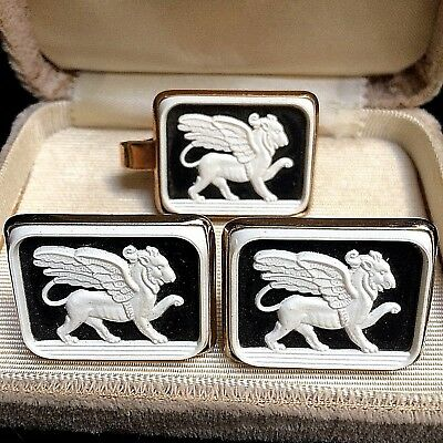 454e80ee8075 Vintage Shields Fifth Avenue Wedgwood Griffin Cuff Links and Tie Clip
