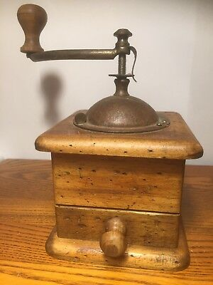 Vintage Wood Case Cast Iron Coffee Grinder Mill Old Used