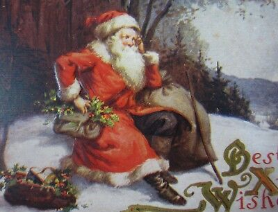 Antique Santa Claus Christmas Postcard St Nicholas Gold Border Bag Toys c. 1915