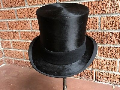 Wow! VTG Antique Beaver Silk Plush B. Altman and Company Top Hat  7 1/8