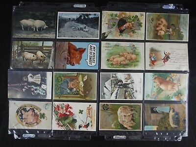 BIG LOT ANTIQUE c1900 PIG/HOG THEMED POSTCARDS, FRENCH, CHRISTMAS NEW YEAR