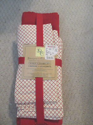 Set of 8, 4 Red Placemats and 4 Napkins New (from Home Goods)