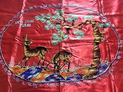 BEAUTIFUL Vintage 1930's Embroidered Japanese Satin Table Cover with Deer