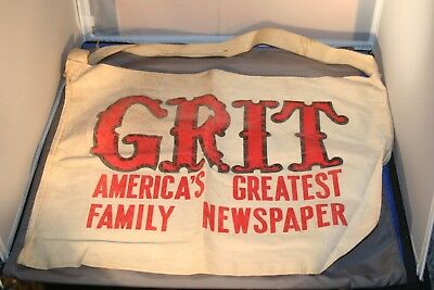 Vintage 1960s Grit Newspaper Cloth Delivery Bag Advertising Labeling Both Sides