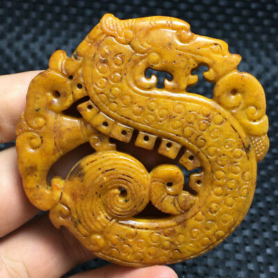 77g  Chinese Exquisite Hand carved flowers carving  Ancient jade pendant  a14