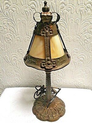 Antique Arts and Crafts Hand Hammered Leaded Glass Desk Lamp