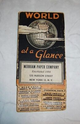 WORLD MAP 1940 Folding Merriam Paper Company Color Cardboard Paper USA Vintage