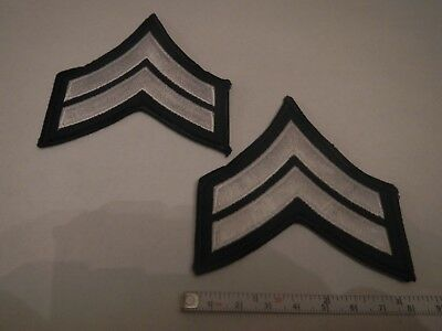 Pair CORPORAL CPL. Police Security Chevrons Stripes Patch Silver And Black