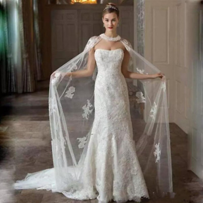 Bridal Jacket White Ivory Long Wedding Shawl Cloak Tulle Applique Lace Shawl