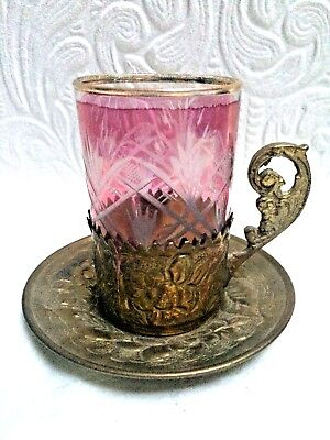 Antique Cranberry Cut To Clear Russian Tea Glass in Ornate Brass Holder