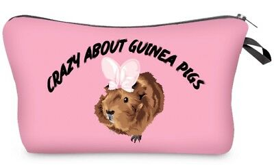 Pink Crazy About Guinea Pigs Cosmetic Pouch Bag by Piggies Choice