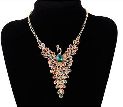 Formal Pageant Wedding Rainbow Peacock Crystal Gold Tone Fashion Necklace
