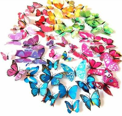 12pcs 3D Butterfly Wall Decals Multicolor PVC Wall Stickers For Decoration