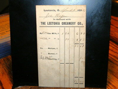#585,Seldom Seen  Leetonia O Creamery Bills 1892
