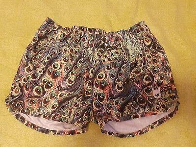 Girls Munster shorts, peacock feather print size 7, excellent condition
