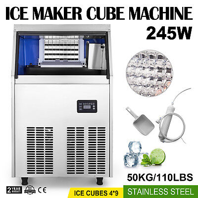 50kg Commercial Ice Maker Cube Machine Built-In Undercounter Freestand 110V 245W