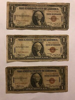 HAWAII Series 1935 A $1 SILVER CERTIFICATE One Dollar $1 Note Bill, BROWN SEAL
