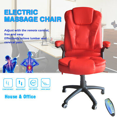 Office Chair Red Massage Desk Computer Chair Faux Leather Swivel Reclining
