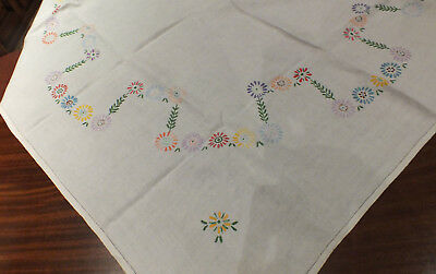 Vintage Hand Embroidered Linen Tablecloth~Multi Coloured Floral - Daisies