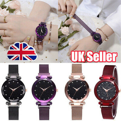 Elegant Women Ladies Crystal Starry Sky Watch Magnetic Strap Watches Gift New YP