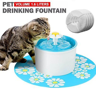1.6L Smart Cycle Pet Cat Water Drinking Fountain with 2 Filters +1 Silicone Mat