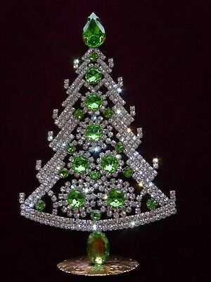 Amazing Vintage Jewelry Czech Rhinestone Christmas Tree Standing