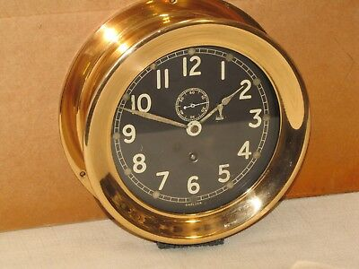 "Chelsea  Vintage Ships  Clock~6"" Dial~U.s.navy~Red Brass~Ww2~Restored"