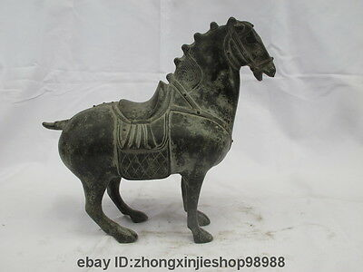 11 China Fengshui Auspicious Zodiac Year Tang Horse old bronze copper Art Statue