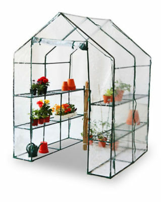 Large WALK IN GREENHOUSE WITH DOUBLE SHELVES GARDEN PVC PLASTIC COVER OUTDOOR