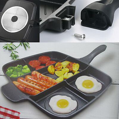5 in 1 Multi Section Fryer Frying Pan Non Stick Grill Oven Roasting BBQ Plate