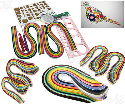 DIY Set Quilling Strips Folding Shiny Paper Template Origami Assorted Craft