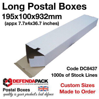 100 x Long White Die Cut Cardboard Postal Boxes 195mm x 100mm x 932mm  DC8347