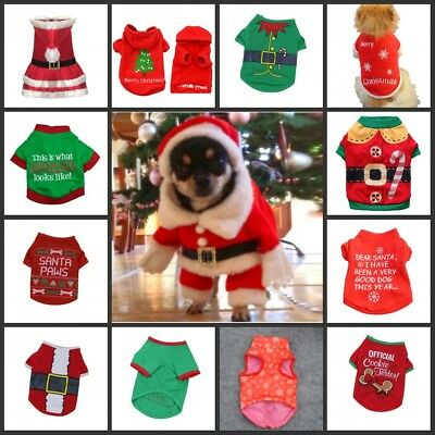 Pet Dog Christmas Clothes Puppy Cat Hoodie Coat Xmas Winter Warm Outfit Sweater