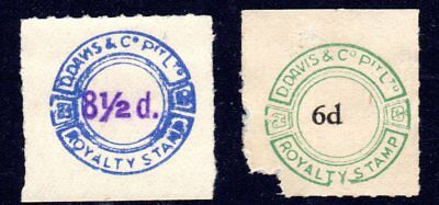 Two D Davis & Co - royalty tax revenue stamps from Pianola rolls 8 1/2d & 6d