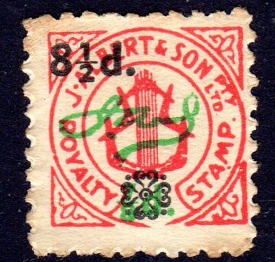 J Albert & son - royalty tax revenue stamp from Pianola roll 8 1/2d overprint