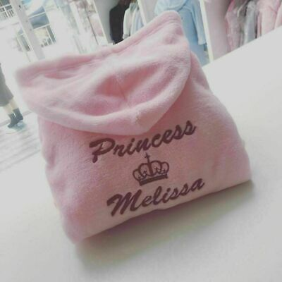 6 12 18 24 2 3 4 5 6 PERSONALISED any name dressing gown robe crown princess