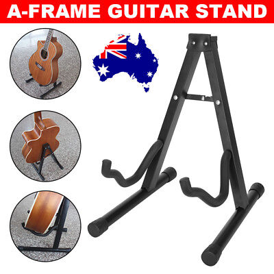 Folding Electric Acoustic Bass Portable Guitar Stand A Frame Floor Rack Holder