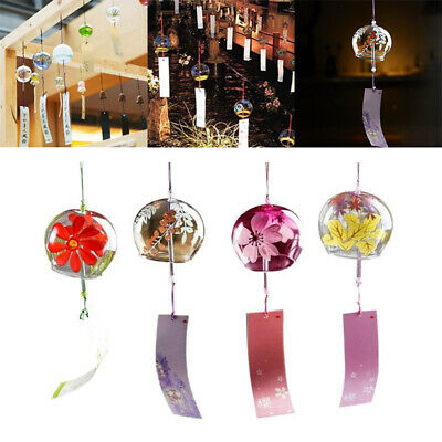 1x Japanese Style Glass Windchime Blessing Bell Room Hanging Furin Wind Chime