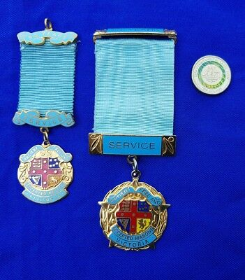 A Pair Of Old Victorian Masonic Lodge Medals. Named. Gilt Brass/enamel. Stokes.