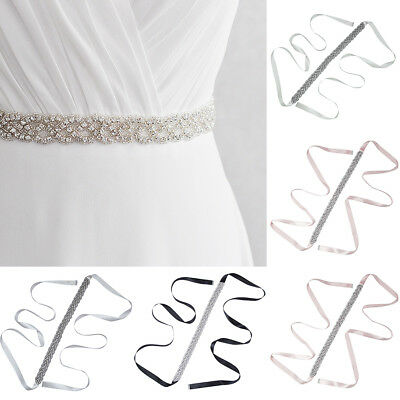 Adjustable Women's Bridal Sash Wedding Crystal Waist Belts Belt Dress Waistband