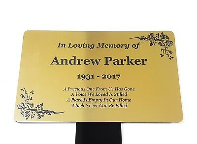 Personalised Gold Memorial Plaque Stake - Grave Marker Ornament Outdoor Garden