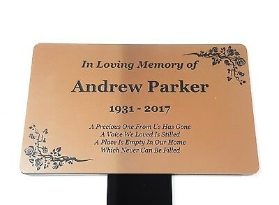 Personalised Copper Memorial Plaque Stake - Grave Marker Ornament Outdoor Garden