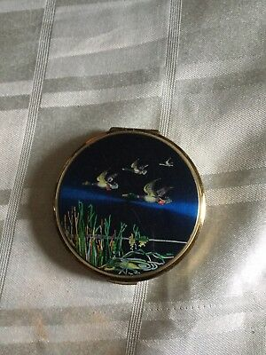 Stratton Vintage  Powder Compact Flying Ducks midnight Blue Background